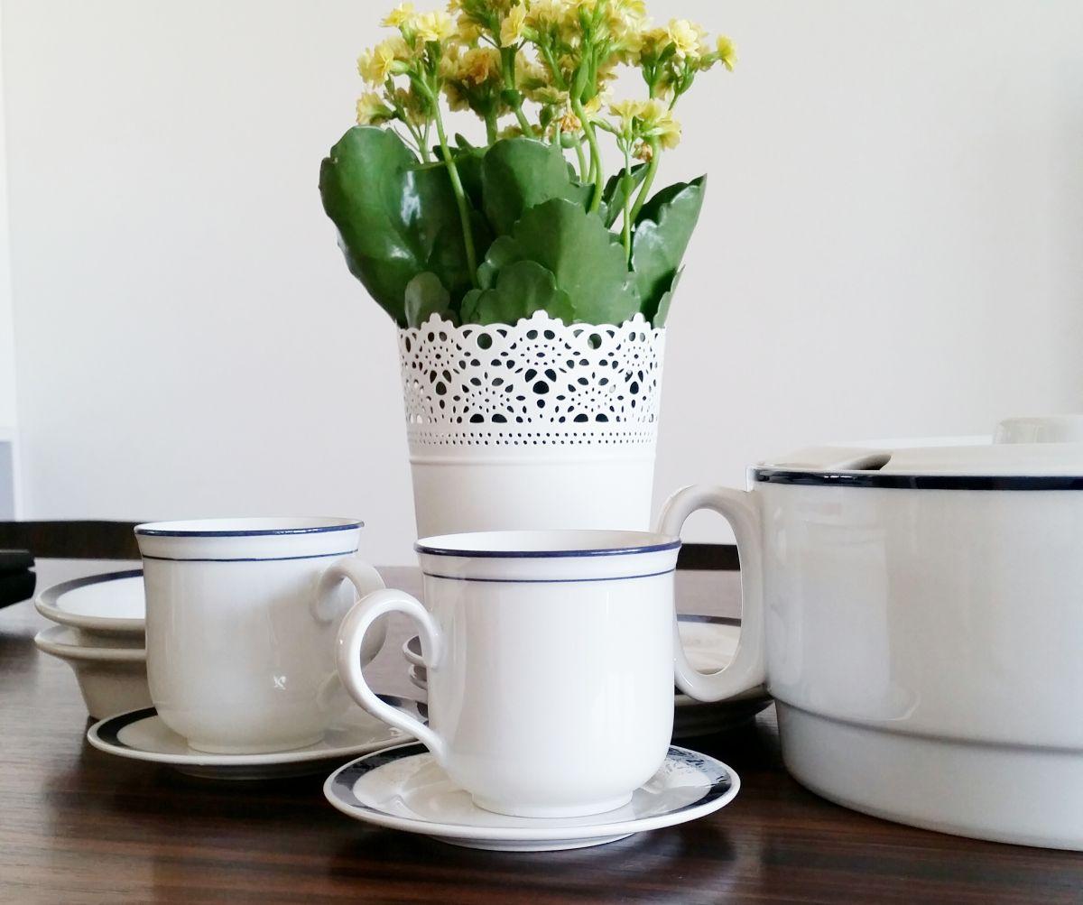 Sarby spod Młyna Sułkowice: Filiżanki z niebieskim brzegiem i waza